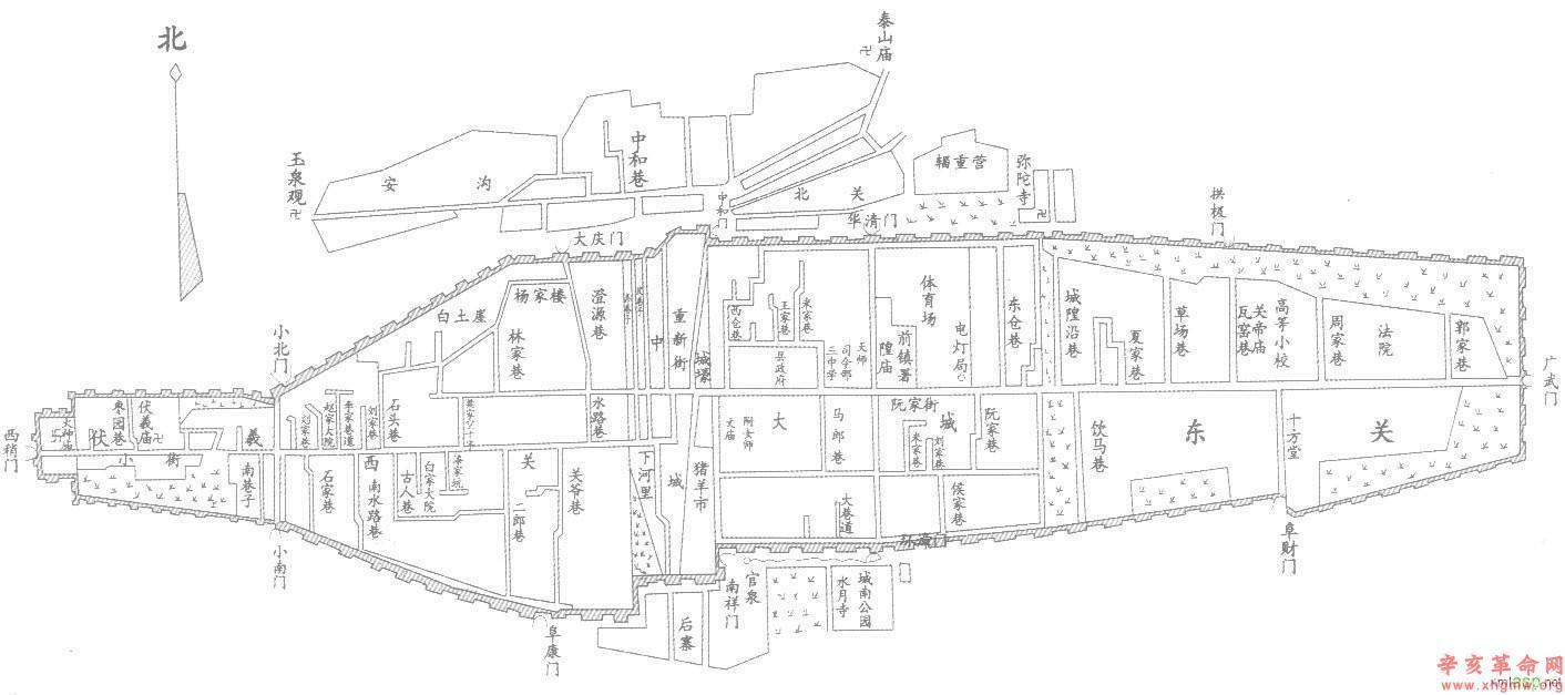 民国时期秦州城地图